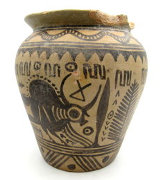 Large Indus Valley Painted Terracotta Jar with Bull Motif - 153x75mm