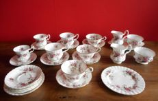 Royal Albert, fine bone china service, Lavender Rose décor tea service, cups and saucers, etcetera.