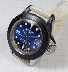 Sicura - Shadow Blue Dial - 600 Feet Diver - 1960's - Ladies Wristwatch