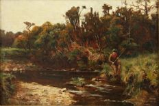 George Whitton Johnstone - (1849-1901) - Fishing boy on a quiet stretch of river