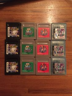 Game Boy - 12 Pocket Monsters (Pokemon) games, including red,crystal,gb and rare Japan-only Green Version (Japanese imports)