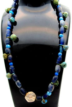 Viking Necklace with Bronze Pendants, Coloured Glass Beads - 440 mm