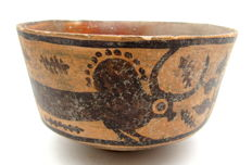 Indus Valley Painted Terracotta Bowl with Bull Motif - 122x73mm