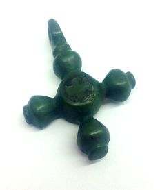 Rare early medieval bronze cross is inlaid with silver 28x20 mm
