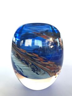 Maxence Parot - Unique solid vase blue decoration (dated/signed)