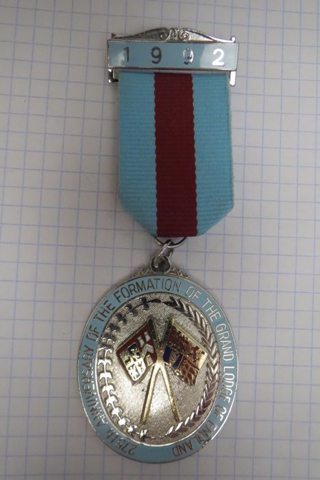"""Masonic insignia """"275 Anniversary of the formation of the Grand Lodge of England"""" 1992 year"""