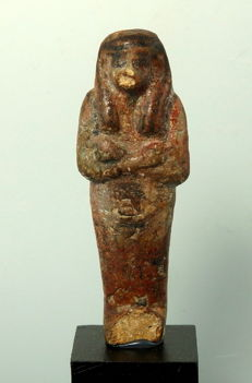 Egyptian Faience brown glazed shabti - 79mm height without stand