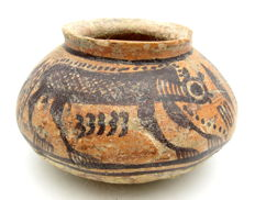 Indus Valley Painted Terracotta jar with Monkey Motif - 120x70 mm