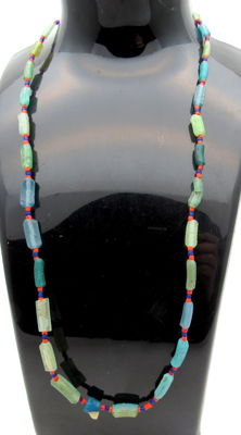 Ancient Glass beaded necklace - Wearable Gift - 450 mm