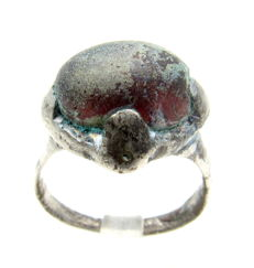 Medieval Saxon Era Silver Ring with Black Stone - Wearable - 17 mm