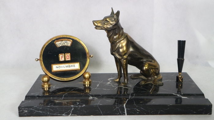 Perpetual Calendar Art Deco : Perpetual calendar art deco desk set with dog and pen