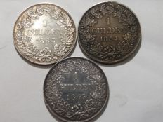 Germany - Lot 3 coins: 3 x 1 Gulden