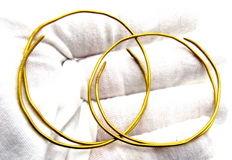 Pair of Viking Period Gold Hoop Earrings / Childrens Bracelets - Wearable -  44-46mm (2)