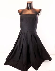 Dolce & Gabbana - black wide pleated strapless dress