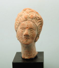 Greek Terracotta Female Bust - 71mm height x 40mm approx without stand