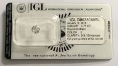 0.71ct Diamond  Round cut E  SI3  IGL Lab report -NO RESERVE