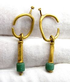 Pair of Viking Period Gold Earrings with Green Stones - 36-38mm (2)