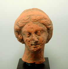 Large Greek Terracotta Female Bust - 97mm height x 65mm approx without stand