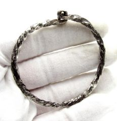 Medieval Viking period Silver Twisted Bracelet - 50mm
