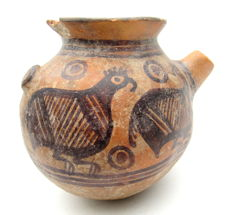Indus Valley Painted Terracotta Pouring Jar with Bird motif - 135x117mm