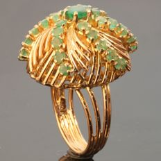 Amazing Fifties Cocktail Ring with emeralds, model Sea Mine.