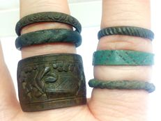 Medieval bronze rings is decorated  17, 18, 19, 19, 20, 20 mm