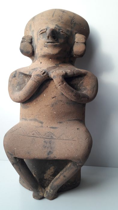 Pre-Columbian hollow earthenware sculpture height 32 cm