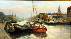 J. de Booy (20th century) - 'Oude Rotterdamse haven'