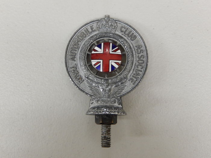 Vintage 1950's Chrome and Enamel Queen Elizabeth II Crown The Royal Automobile Club RAC Auto Badge Mascot Mount