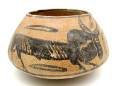 Indus Valley Painted Terracotta Jar with Bull Motif - 168x88mm