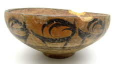 Large Indus Valley Painted Terracotta Bowl with Deer Motif - 168x71mm