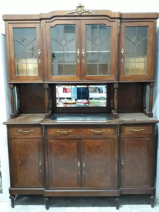 Mahogany display cabinet with mirror and marble - Italy - circa 1940