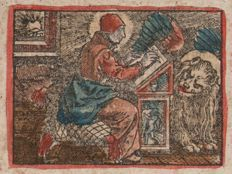Hans Sebald Beham, ca. 1525/50 - Old coloroud woodcut of Evangelist Saint Markus - Added two woodcuts with cVs monogram