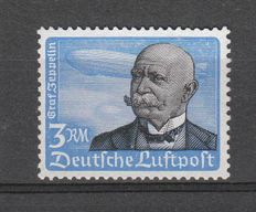 German Empire/Reich 1934 – airmail postal stamp Graf Zeppelin 3RM MNH with horizontal rubber riffle – Michel no. 539y