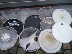 Lot of 15 skins for drums - snare and tom