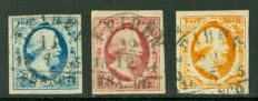 The Netherlands 1852 - King Willem III - NVPH 1/3 with semi-circular cancellation Leiden B