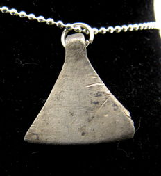 Medieval Viking Period Silver Axe Shaped Pendant  - Free Necklace - 18 mm