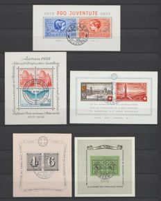 Switzerland 1937/2000 – Selection of blocks and embroidery sheet