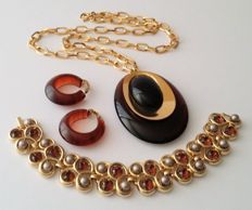 Crown TRIFARI Gold Plated Necklace Bracelet and Earrings Jewelry Collection