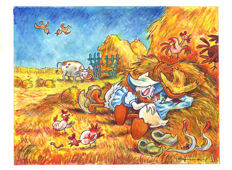 "Fernandez, Tony - Original Mixed Media Painting - Daisy & Donald Duck inspired by Van Gogh's ""Midday Rest After Millet"""