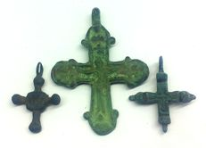 Medieval bronze crosses 25х17, 27х23, 48х35 mm