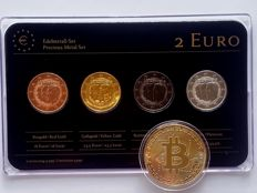 Luxembourg – 2 Euros 2011 'Precious Metals' (4 different coins) refined + 'BitCoin' medal