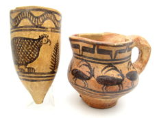 Pair of Indus Valley Painted Terracotta - Pourer & Cup  - 60x107, 100x83mm - (2)