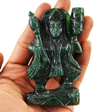 Green Jade Carved Lord Hanuman - 87x35x17 mm - 106 gm