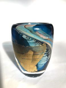 M.Parot - Unique Vase blue and gold (dated/signed)