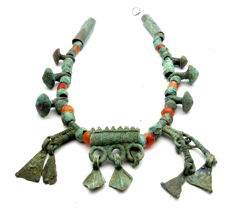 Medieval Viking Necklace with Amber and Bronze Beads/Pendants  - 370 mm