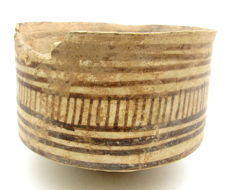 Indus Valley Painted Terracotta Bowl with Geometric Motif - 108x77 mm
