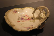 Royal Bonn Germany Gesetzlich Geschutzt - plate with handle in porcelain with decoration of flowers - circa 1890