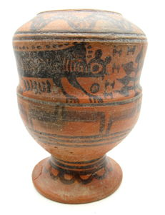 Indus Valley Painted Terracotta jar with Monkey and Snake Motif - 105x145 mm
