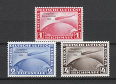 German Empire/Reich 1933 – ocean crossing airship Graf Zeppelin CHICAGO CIRCUIT MNH – Michel no. 496-498